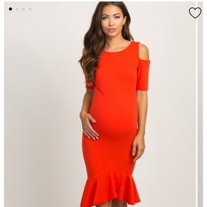 Bright red cold shoulder maternity dress